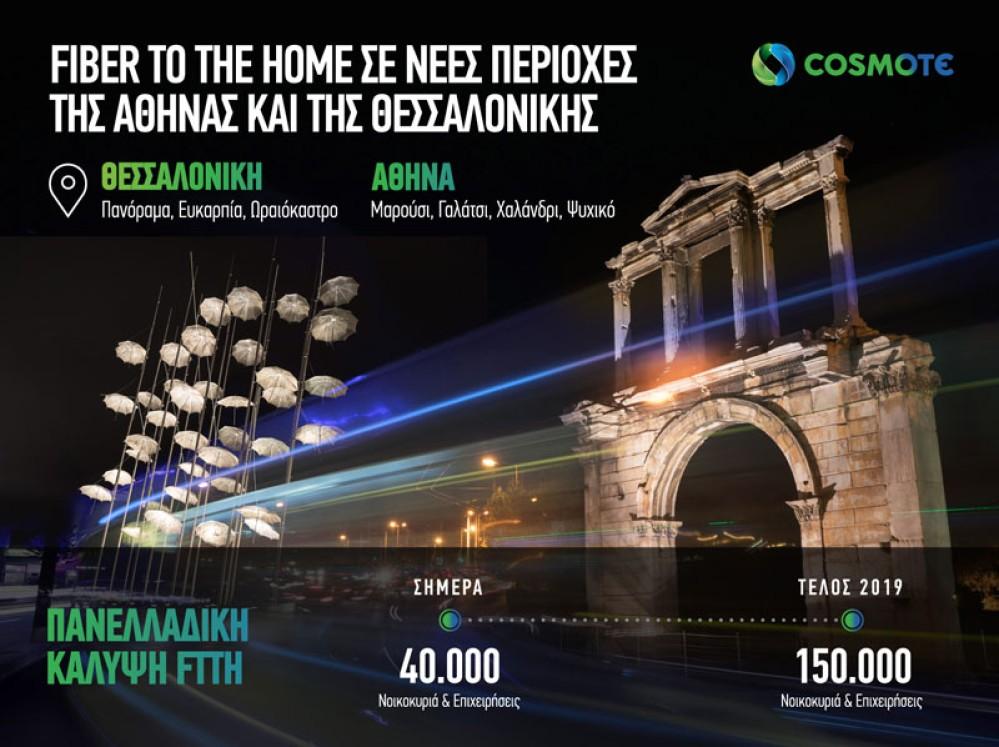 COSMOTE: Fiber To The Home σε νέες περιοχές της Αθήνας και της Θεσσαλονίκης