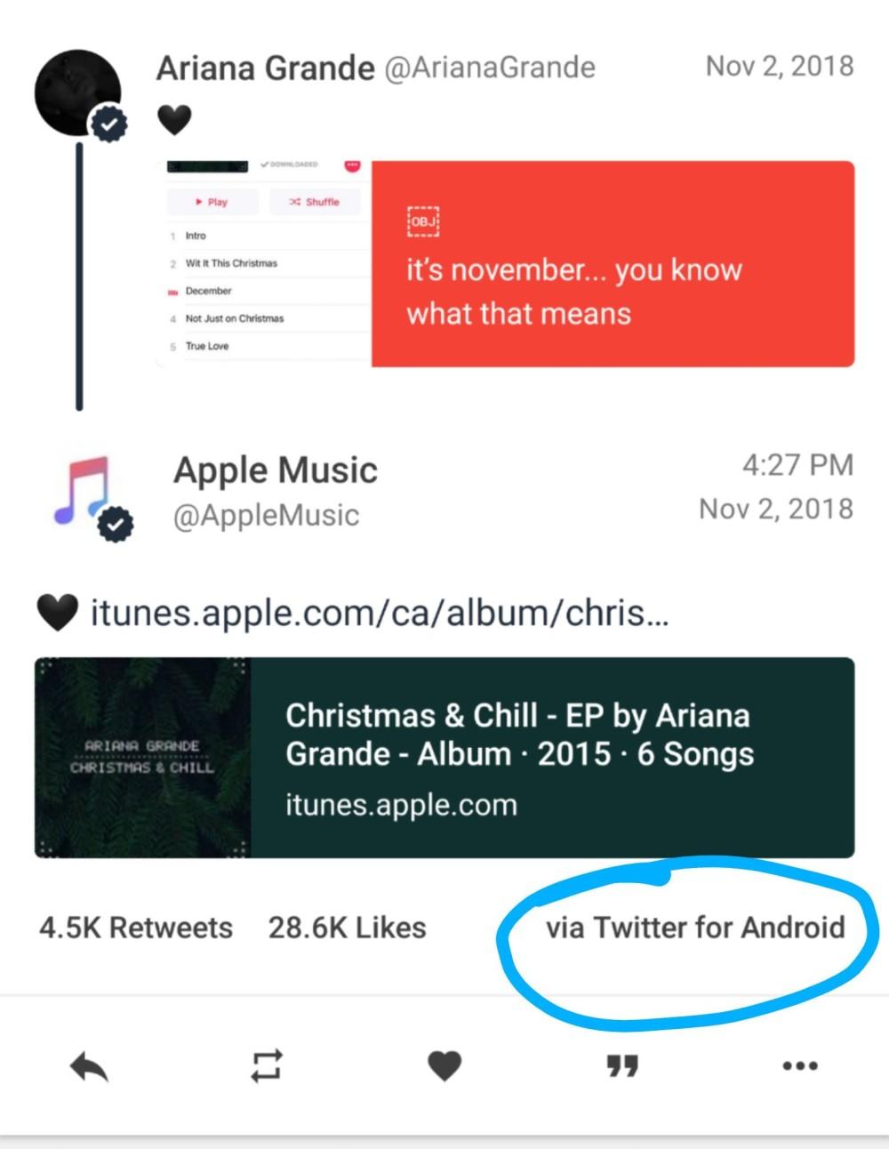 Πρωτόγνωρη γκάφα Apple! Tweet του Apple Music από Android...