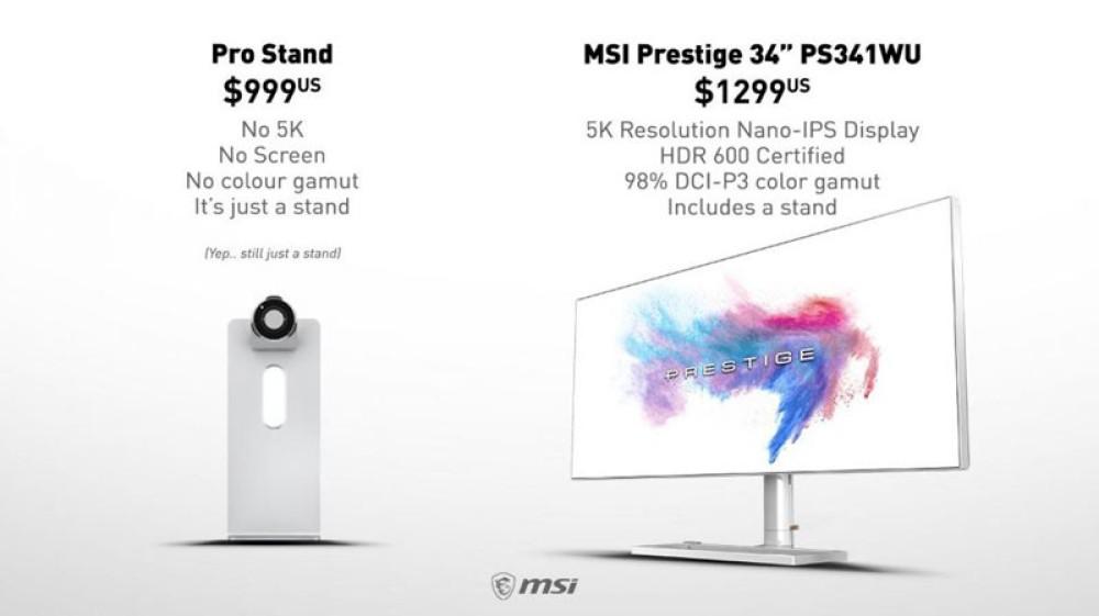 Η MSI κοροϊδεύει την Apple για την περίφημη βάση που κοστίζει $999
