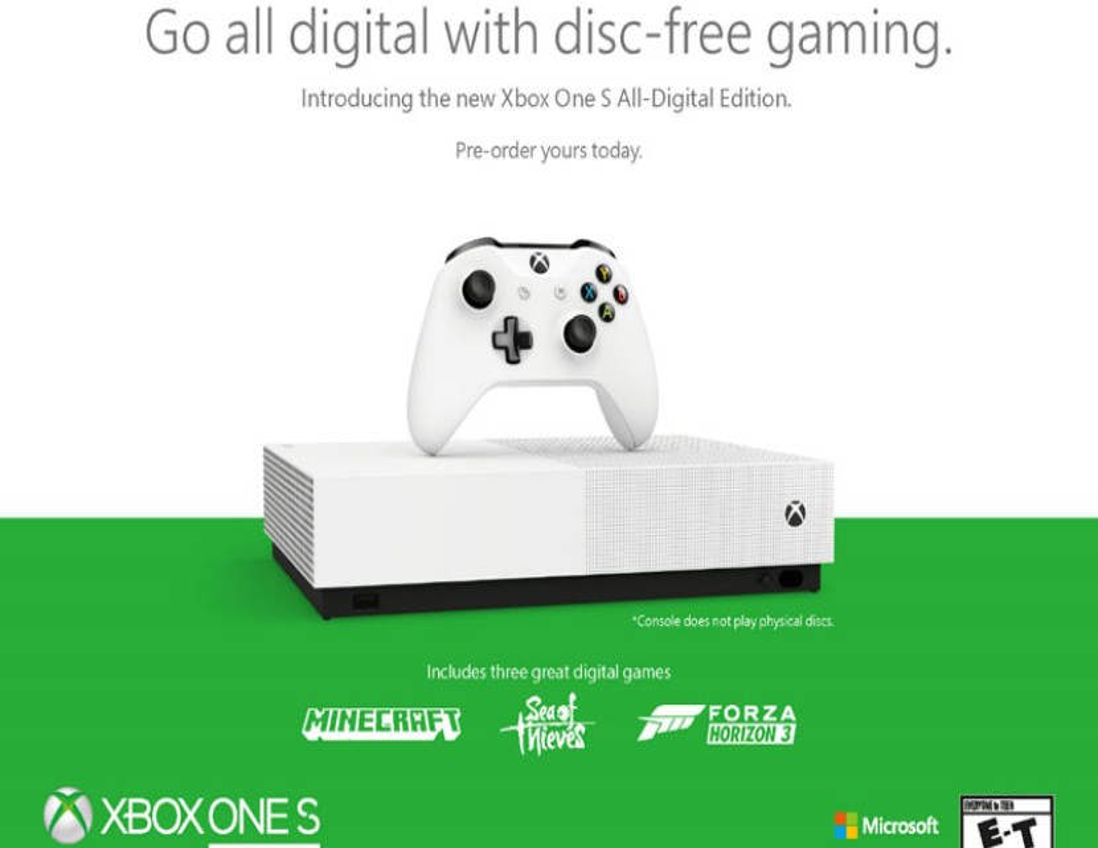 Xbox One S All-Digital Edition: Επίσημα η πρώτη disc-less έκδοση με τρία προεγκατεστημένα παιχνίδια
