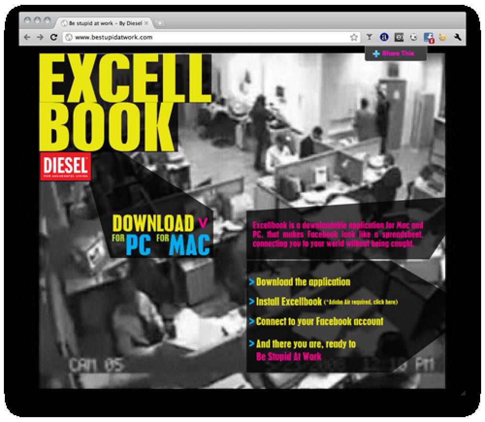 Excellbook: Η εφαρμογή της Diesel που σας επιτρέπει να μπείτε άφοβα στο Facebook από τη δουλειά!