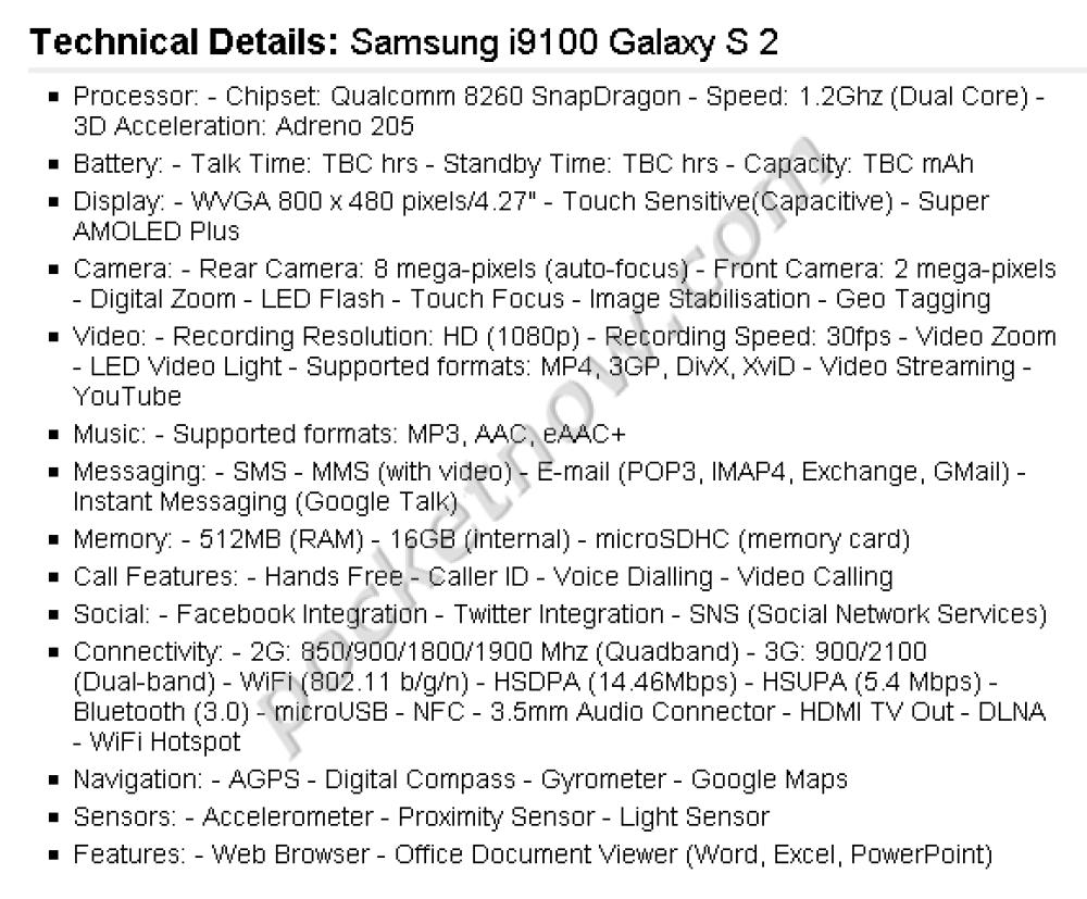 Samsung Galaxy S2 (i9100): Διέρρευσαν τα επίσημα χαρακτηριστικά!