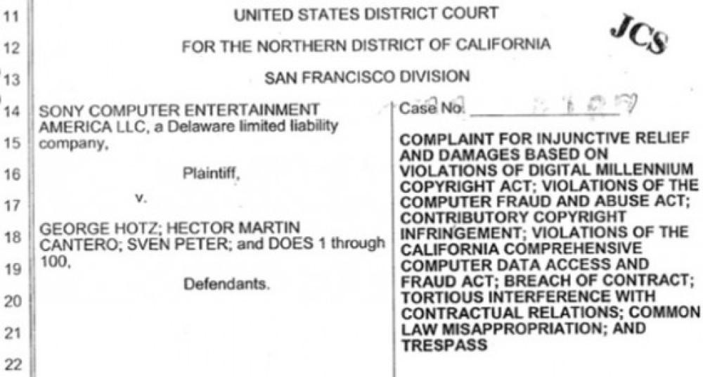 Επίσημη μήνυση της Sony στους Geohot και fail0verflow για το PS3 jailbreak
