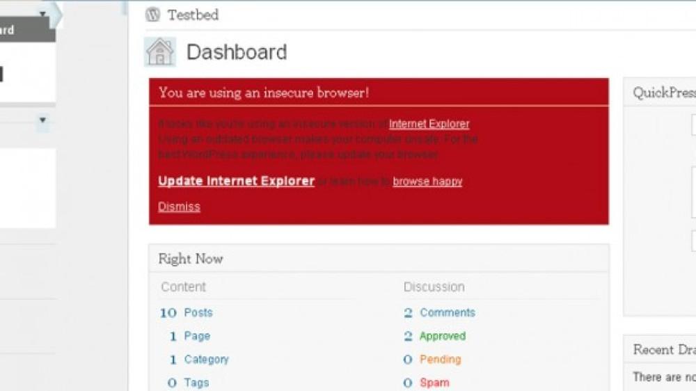WordPress: Τέλος η υποστήριξη του Internet Explorer 6 από την έκδοση WordPress 3.2!