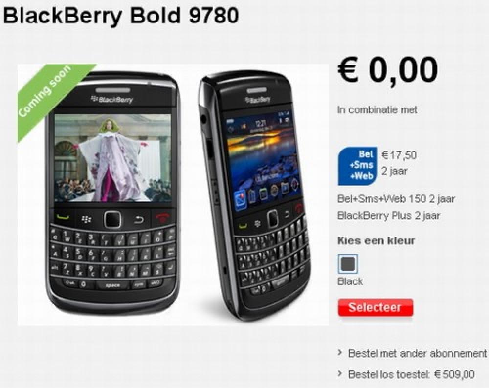 BlackBerry Bold 9780 επίσημα στην ιστοσελίδα της Vodafone Netherlands με €509!