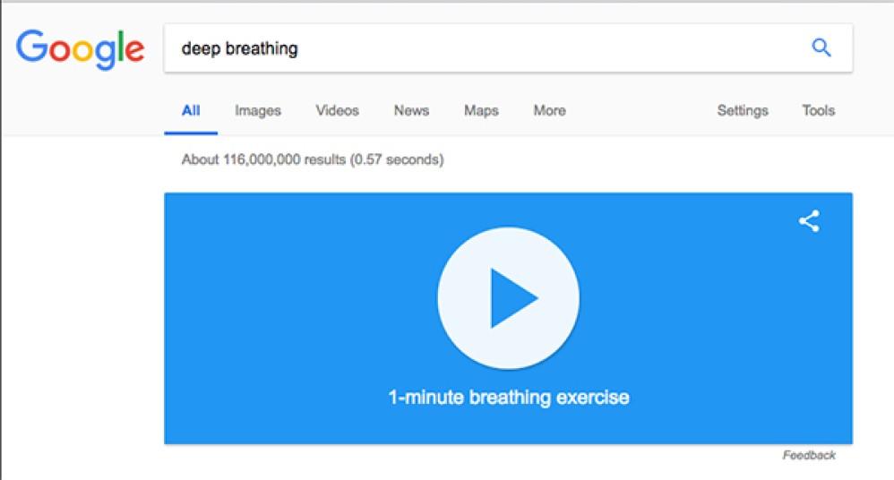Google: Πρόσθεσε άσκηση αναπνοής για 1 λεπτό στη μηχανή αναζήτησης