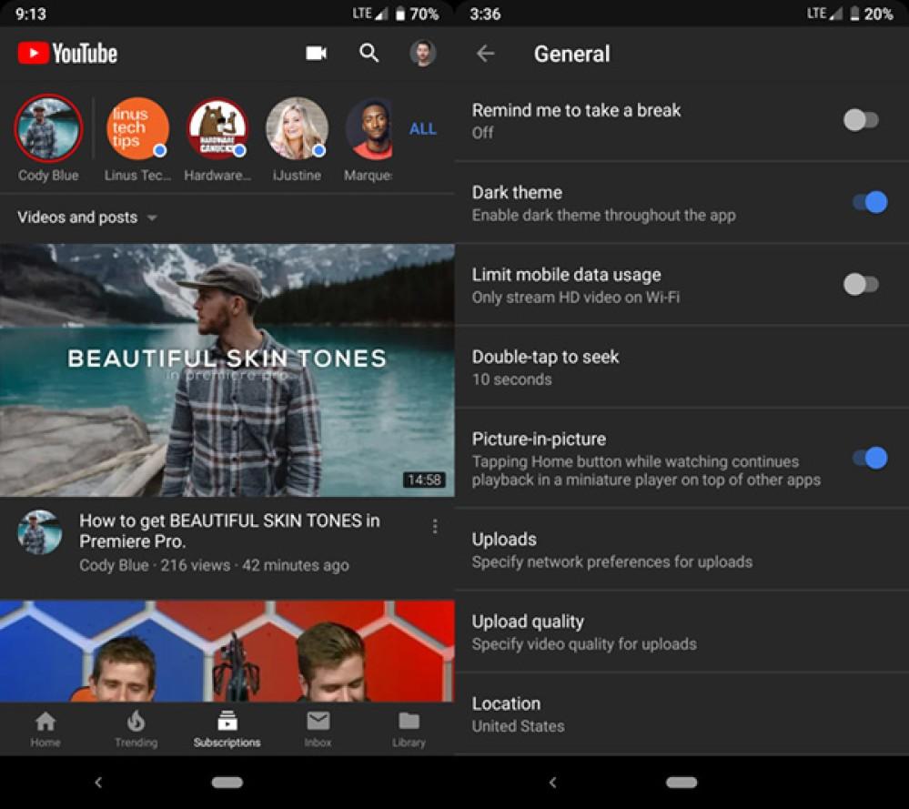 YouTube Dark Mode: Εμφανίστηκε η επιλογή και για την έκδοση για Android