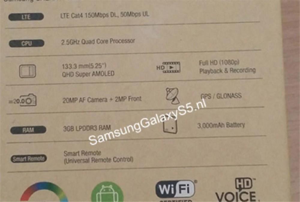 Samsung Galaxy S5: Διέρρευσαν τα τεχνικά χαρακτηριστικά από το κουτί της συσκευής (;)