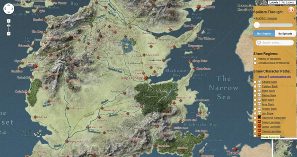 Εκπληκτικός διαδραστικός χάρτης Game of Thrones